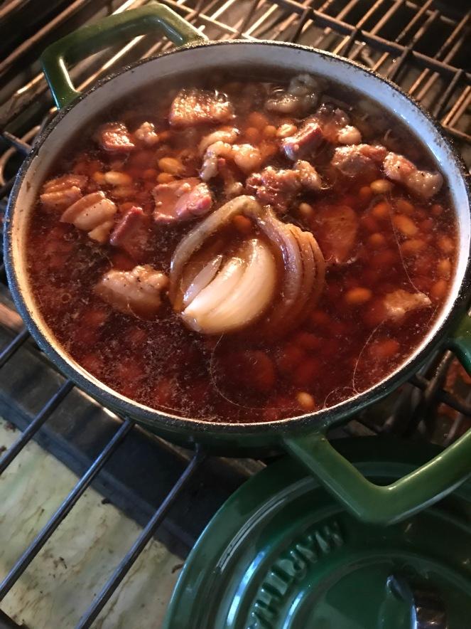 Simmering baked beans