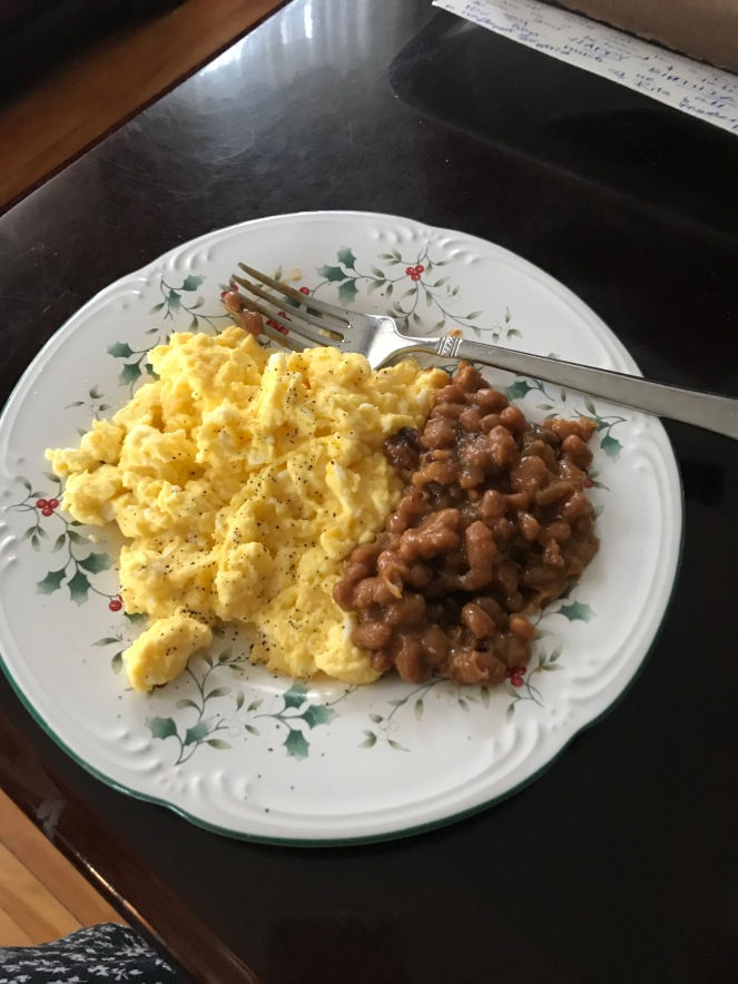 Last night's beans with eggs