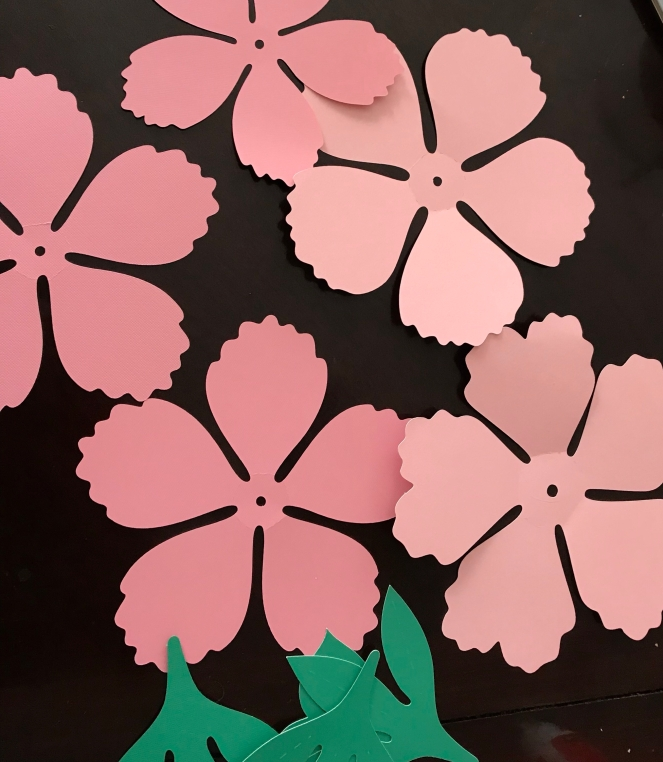 Completed cuts for paper peony