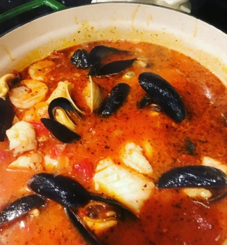 Completed Cioppino ready for the bowl