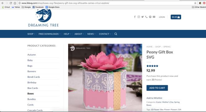 Peony Gift Box SVG