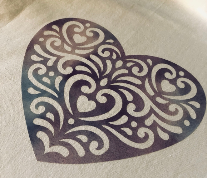 Folk Art Heart in Patterned Iron On Design