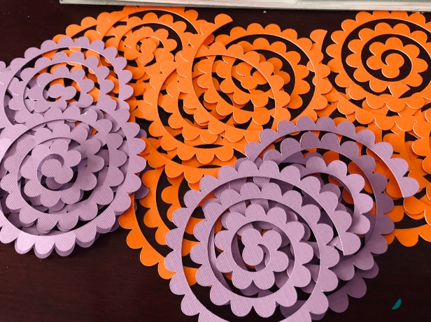 Cut spirals ready to be quilled