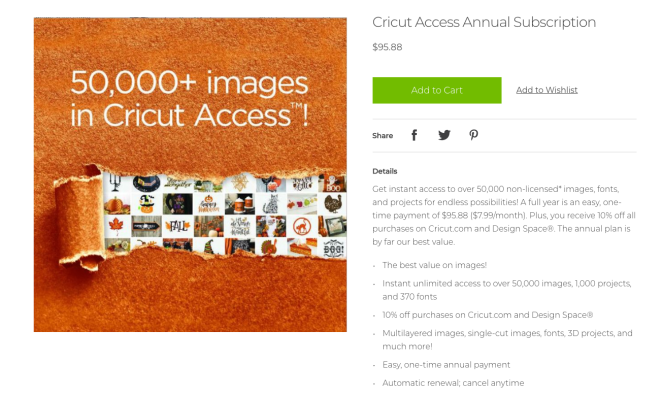 Cricut Access Annual Subscription